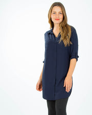 Breastfeeding shirt dress in Navy Blue from Peachymama Australia - 1