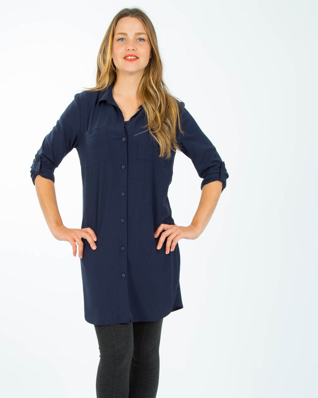 Breastfeeding shirt dress in Navy Blue from Peachymama Australia - 2