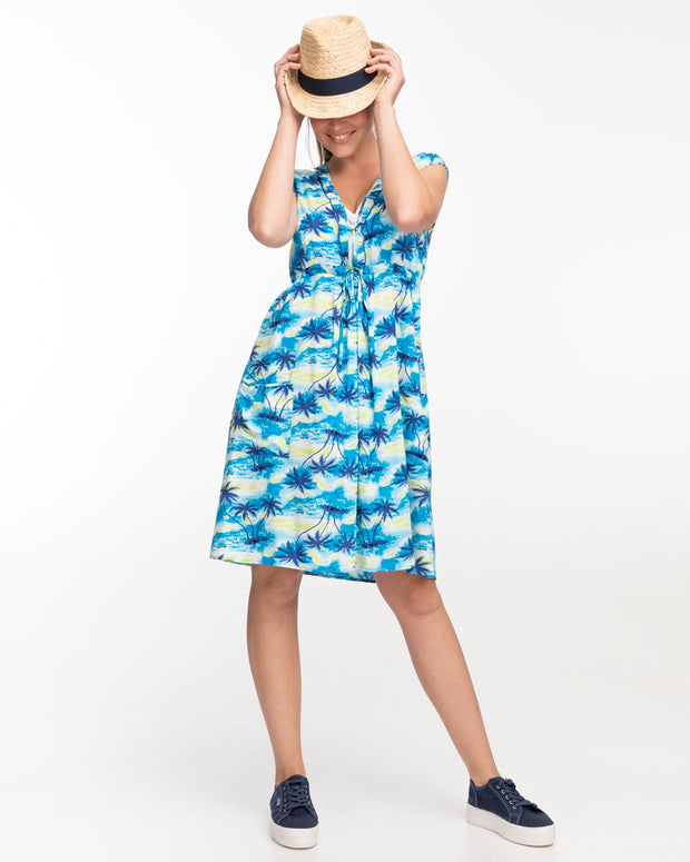Hawaiian Print Nursing Dress by Peachymama - with hat
