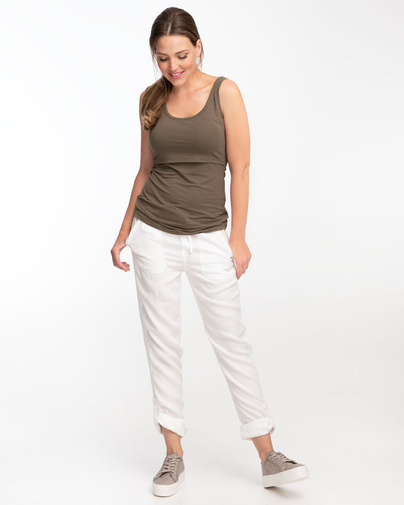 Khaki bamboo nursing tank top by Peachymama - 1