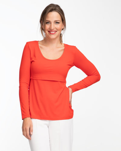 Vermilion red long sleeve nursing top by Peachymama 1