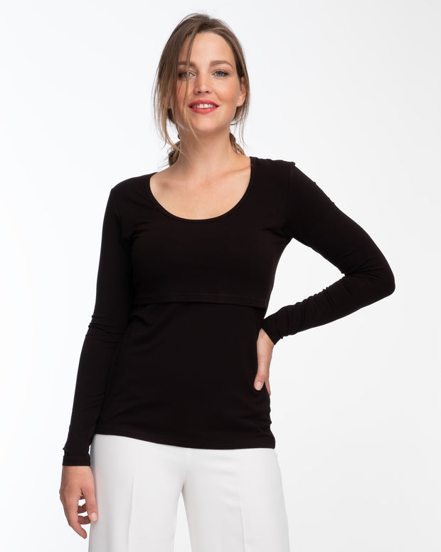 Black bamboo long sleeve nursing top by Peachymama 2