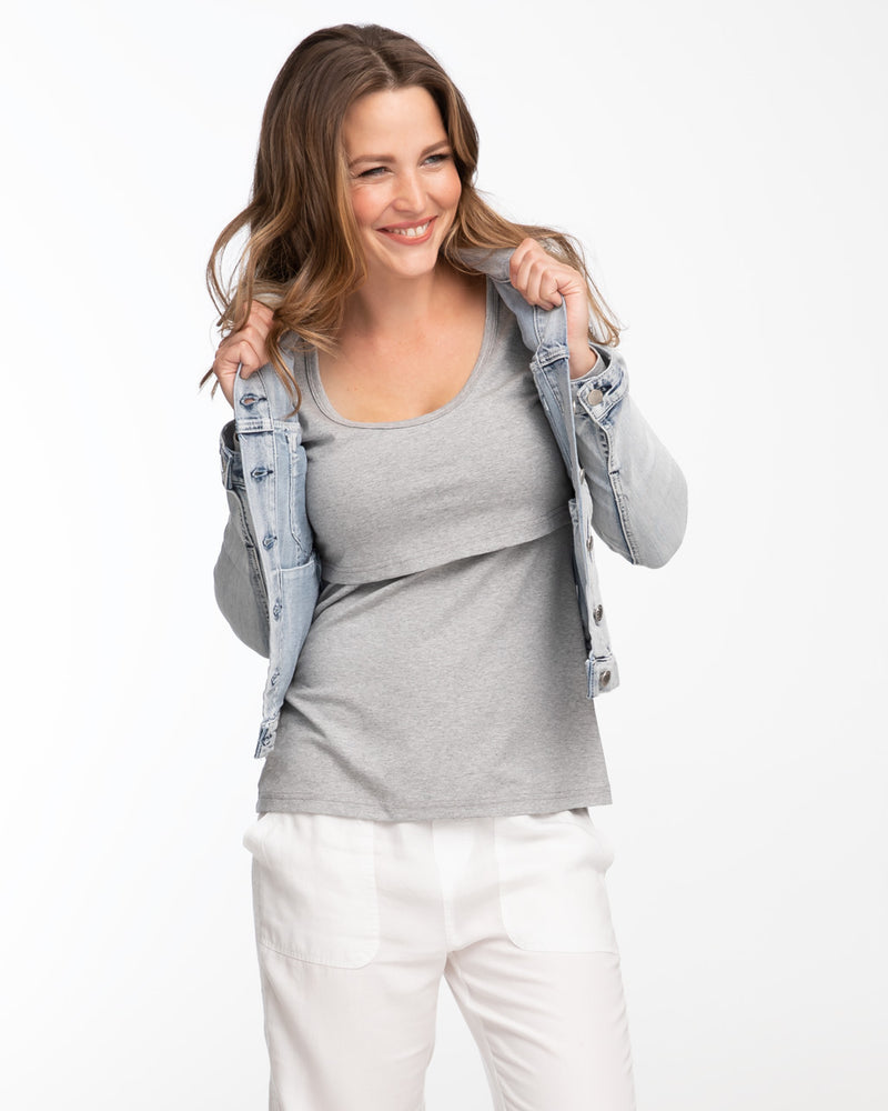 Grey long sleeve nursing top by Peachymama 1