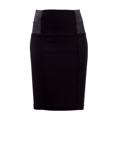 Black high waisted stretch skirt with side elastic - front View