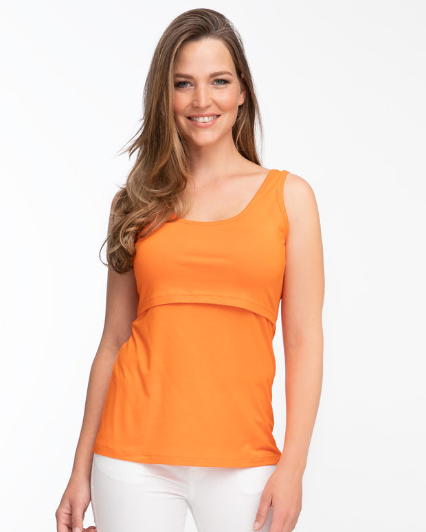 Orange nursing tank top by Peachymama - Denisa 1