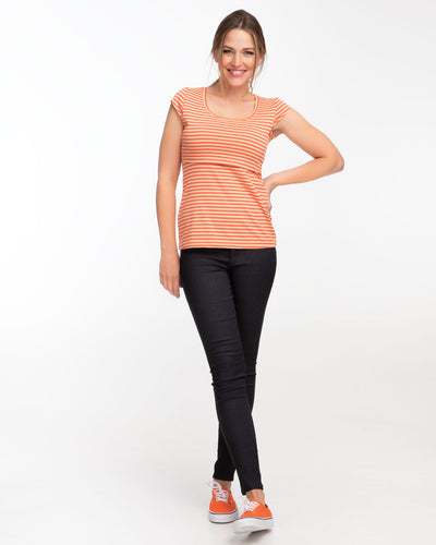 Orange stripe cap sleeve nursing top by Peachymama - 2