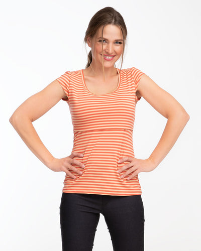 Orange stripe cap sleeve nursing top by Peachymama - 1