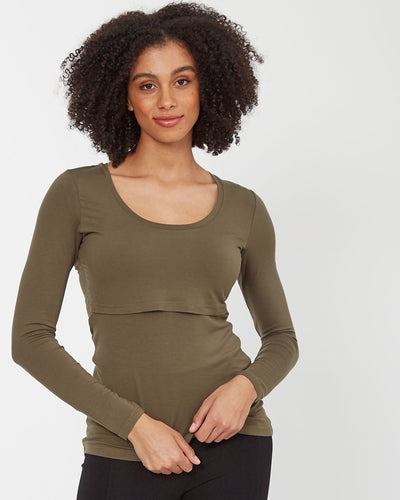Khaki bamboo nursing top with long sleeves - front2