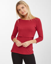 Maroon boatneck nursing top Julia