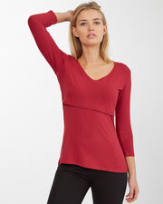 Maroon V-Neck 3/4 Sleeve Bamboo Nursing Top - Front julia 2