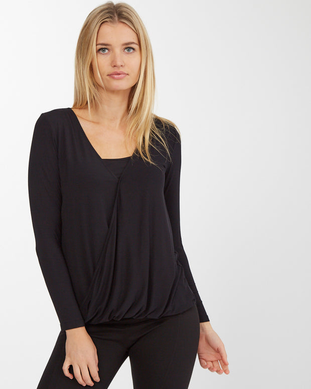 Black Twist Breastfeeding Top - Front Julia