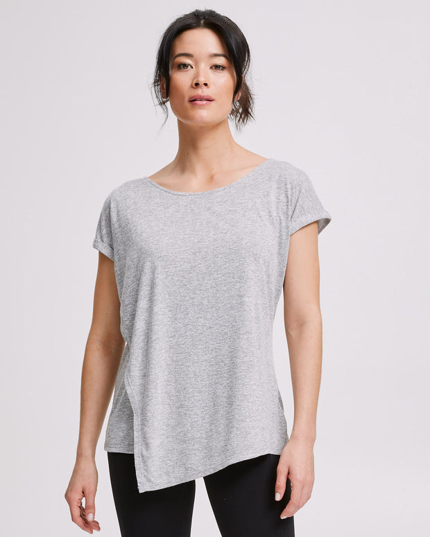 Active Asymmetric Tee - Grey Marle - Peachymama - 3