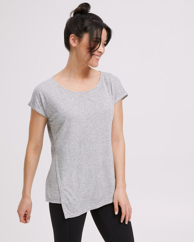 Active Asymmetric Tee - Grey Marle - Peachymama - 4