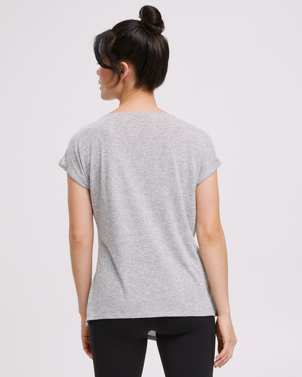 Active Asymmetric Tee - Grey Marle - Peachymama - 5