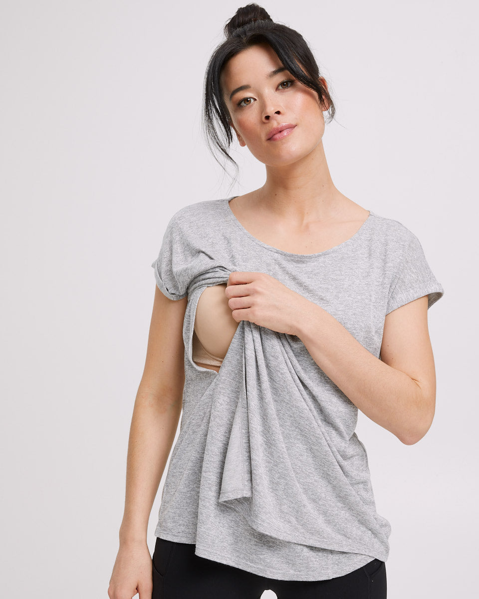 Active Asymmetric Tee - Grey Marle - Peachymama - 1