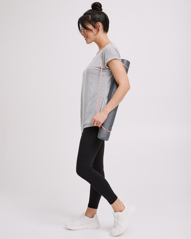 Active Asymmetric Tee - Grey Marle - Peachymama - 6