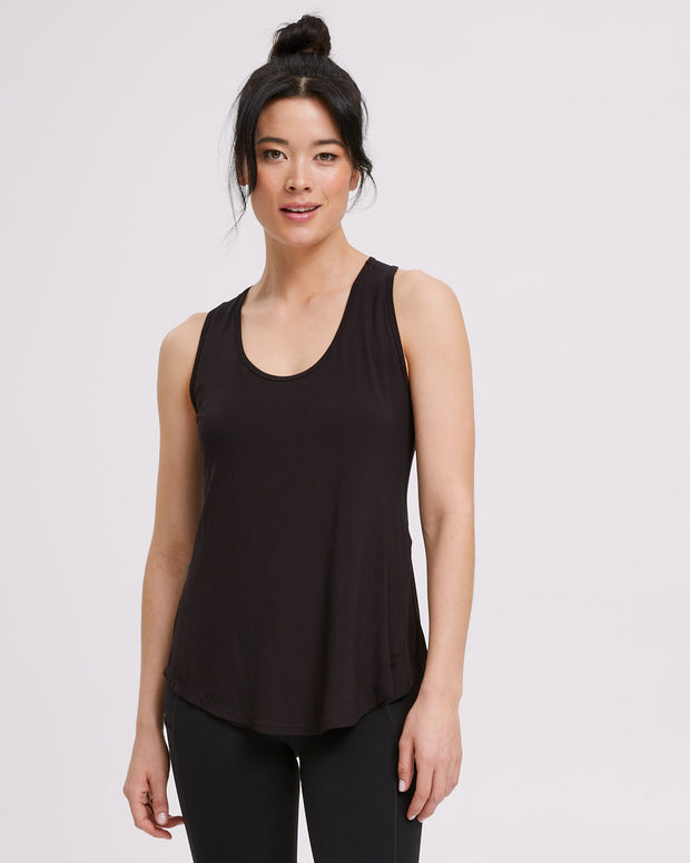 Active Curve Hem Nursing Tank - Black - Peachymama - 1