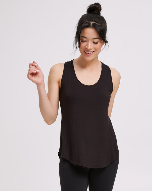 Active Curve Hem Nursing Tank - Black - Peachymama - 3