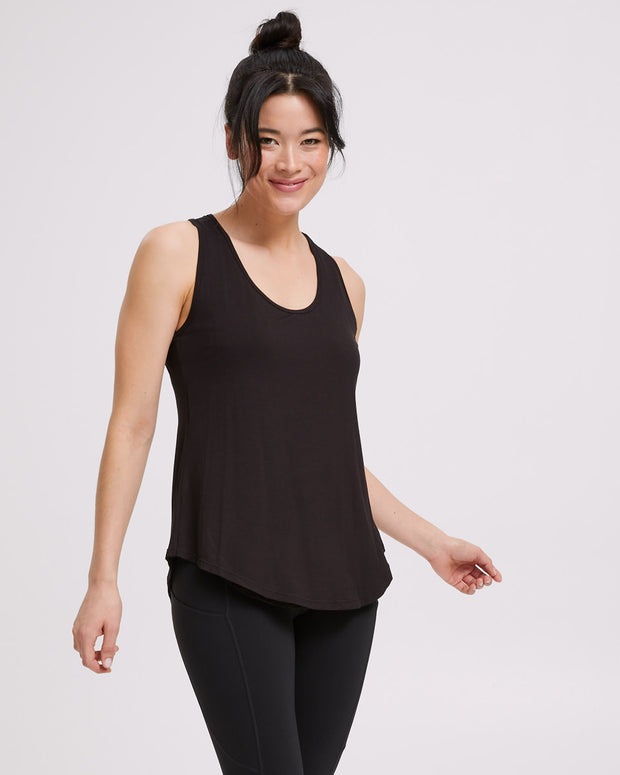 Active Curve Hem Nursing Tank - Black - Peachymama - 4