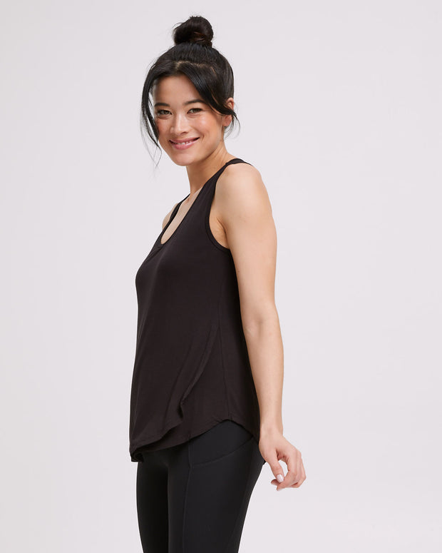 Active Curve Hem Nursing Tank - Black - Peachymama - 5