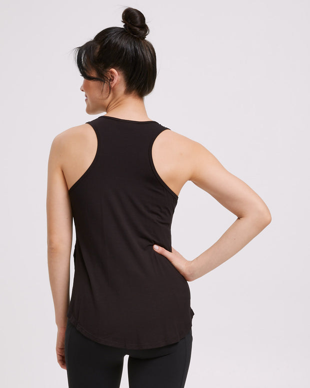 Active Curve Hem Nursing Tank - Black - Peachymama - 8