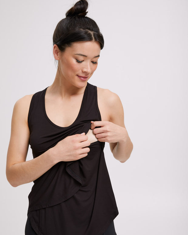 Active Curve Hem Nursing Tank - Black - Peachymama - 2