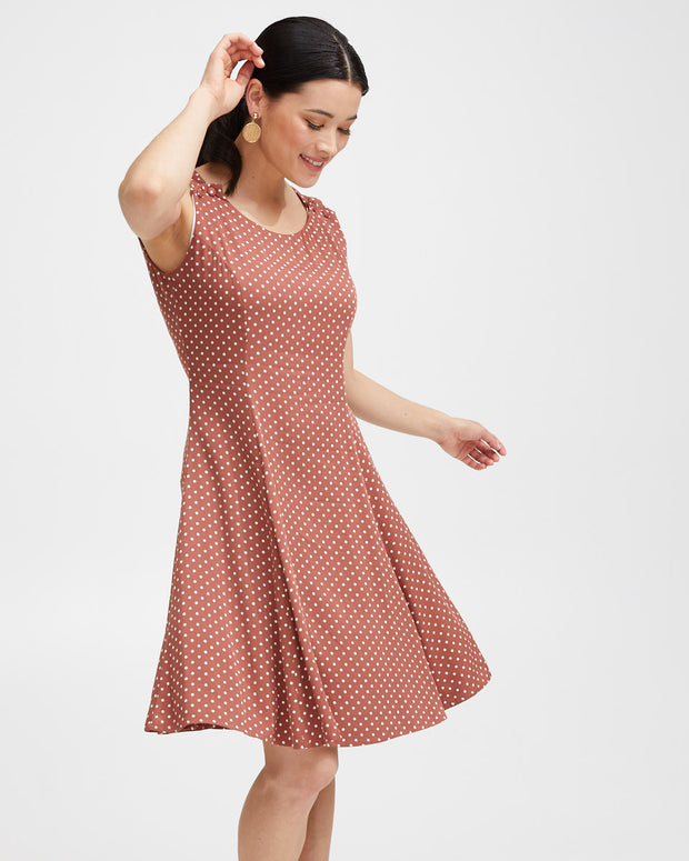 Pinafore Breastfeeding Dress - Rust Polkadot - Peachymama - 5