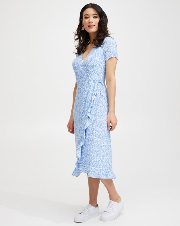 Ruffle Nursing Wrap Dress - Blue Floral - Peachymama - 1