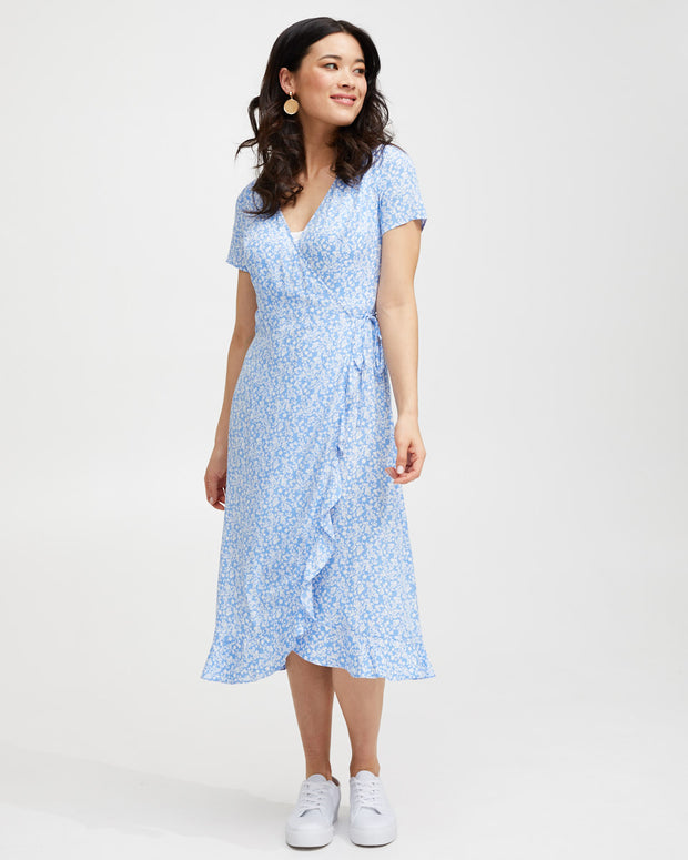 Ruffle Nursing Wrap Dress - Blue Floral - Peachymama - 5