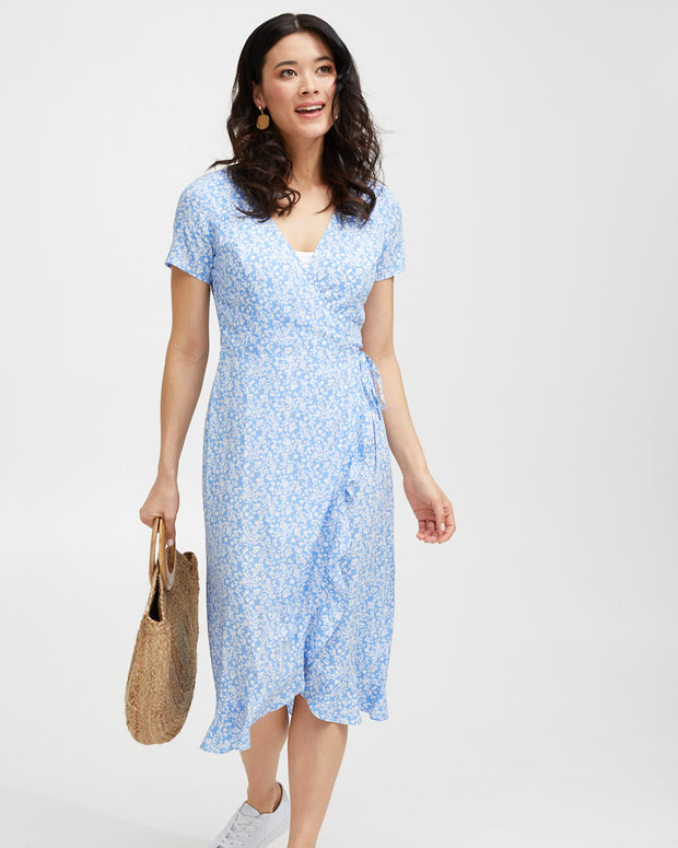 Ruffle Nursing Wrap Dress - Blue Floral - Peachymama - 6