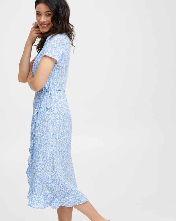 Ruffle Nursing Wrap Dress - Blue Floral - Peachymama - 8
