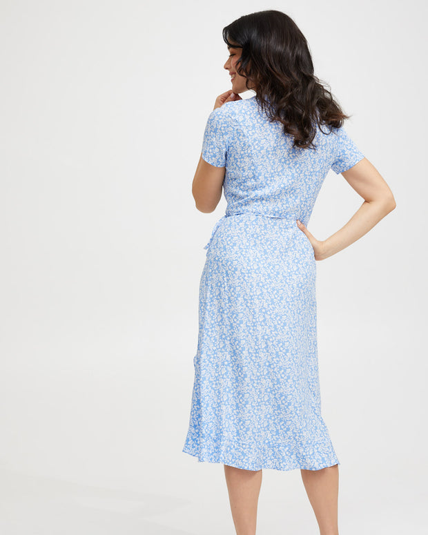 Ruffle Nursing Wrap Dress - Blue Floral - Peachymama - 3