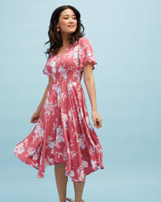 Midi Nursing Dress - Rose Floral - Peachymama - 4