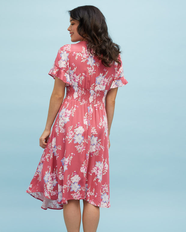 Midi Nursing Dress - Rose Floral - Peachymama - 9