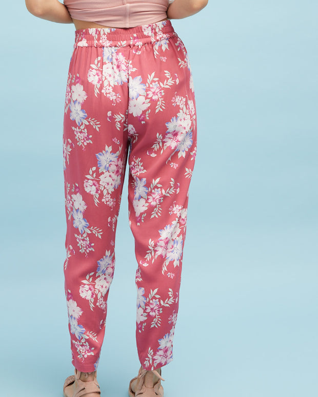 Harem Postpartum Pants - Deep Rose - Peachymama - 2