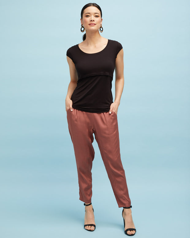 Smart Postpartum Pant - Wood Rose - Peachymama - 3