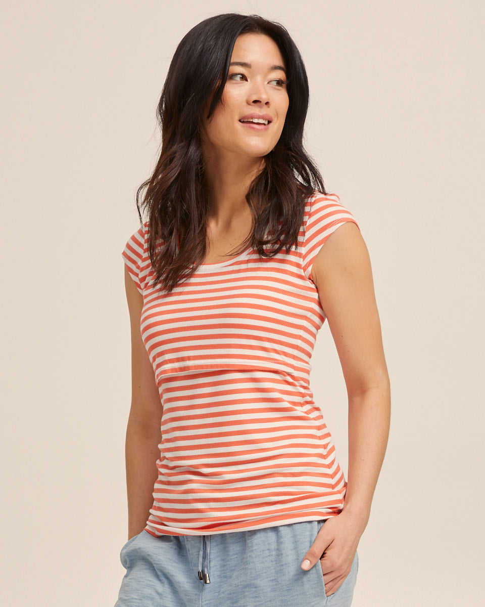Bamboo Cap Sleeve Nursing Top - Coral Stripe - Peachymama - 4