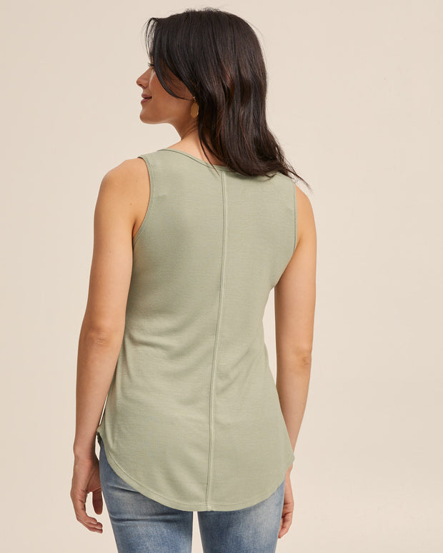Ribbed Breastfeeding Tank - Khaki - Peachymama - 5