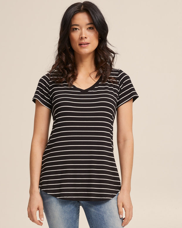 V Neck Bamboo Nursing Tee - Black Stripe - Peachymama - 1