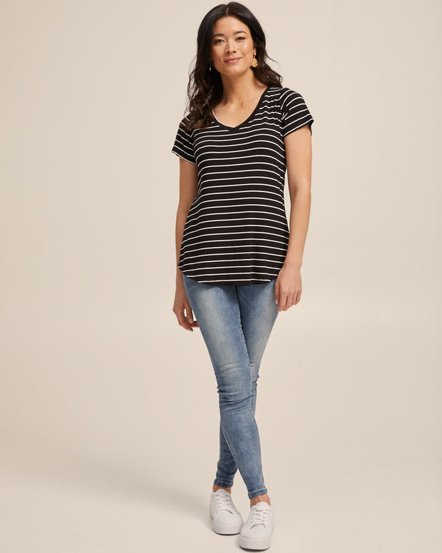 V Neck Bamboo Nursing Tee - Black Stripe - Peachymama - 4