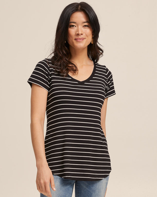 V Neck Bamboo Nursing Tee - Black Stripe - Peachymama - 5