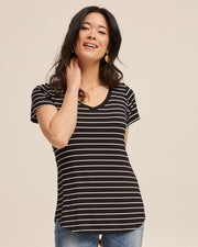 V Neck Bamboo Nursing Tee - Black Stripe - Peachymama - 6
