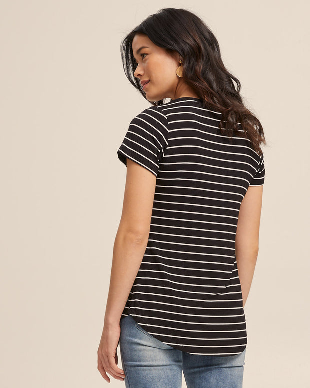 V Neck Bamboo Nursing Tee - Black Stripe - Peachymama - 3