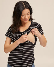 V Neck Bamboo Nursing Tee - Black Stripe - Peachymama - 2
