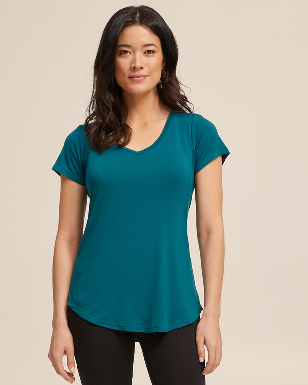 V Neck Bamboo Nursing Tee - Evergreen - Peachymama - 6