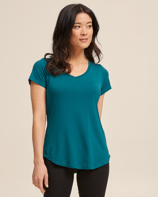 V Neck Bamboo Nursing Tee - Evergreen - Peachymama - 3