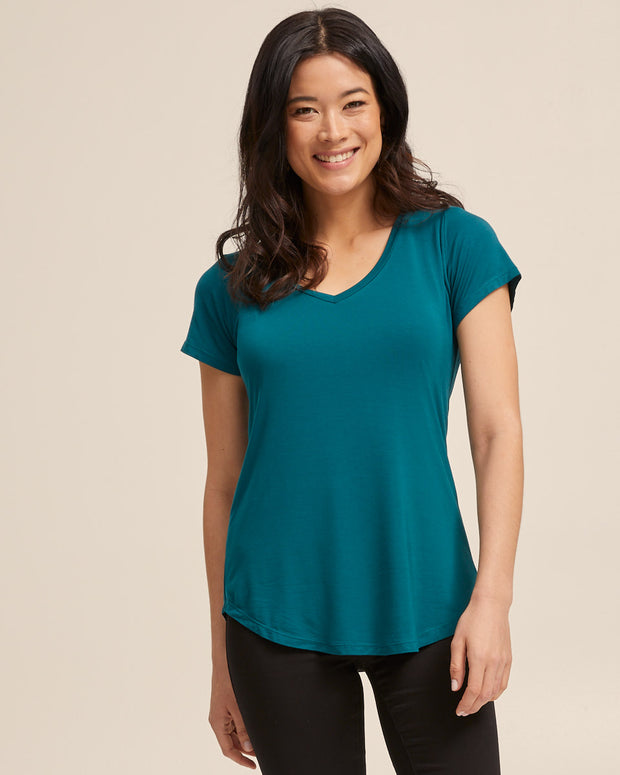 V Neck Bamboo Nursing Tee - Evergreen - Peachymama - 5