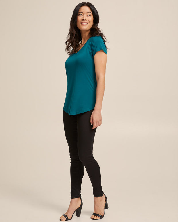 V Neck Bamboo Nursing Tee - Evergreen - Peachymama - 4