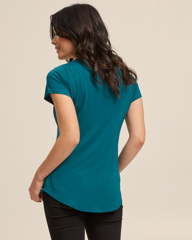 V Neck Bamboo Nursing Tee - Evergreen - Peachymama - 7