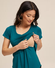 V Neck Bamboo Nursing Tee - Evergreen - Peachymama - 2